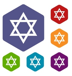 Judaism rhombus icons vector