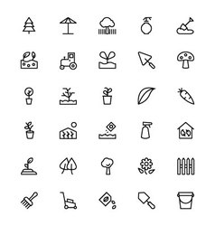 Gardening line icons 3 vector