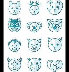Icon set animals blue vector