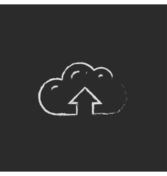 Cloud with arrow up icon drawn in chalk vector image