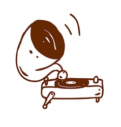 Hand drawn record player vector