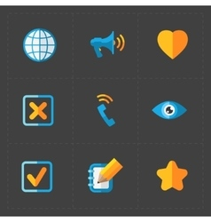 Modern colorful flat social icons set vector