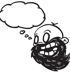 Black and white bearded bald man with thought vector