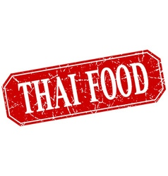 Thai food red square vintage grunge isolated sign vector