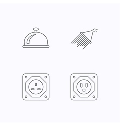 Shower uk socket and usa socket icons vector