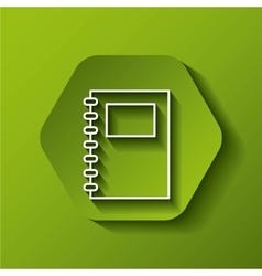 Notebook icon study design over hexagon vector