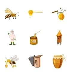 Beekeeping icons set cartoon style vector image