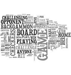 beginners backgammon how tough is it text word vector image