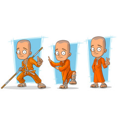 cartoon buddhist monk character set vector image vector image
