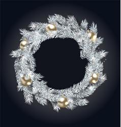 Christmas wreath with golden balls vector