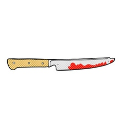 comic cartoon bloody kitchen knife vector image