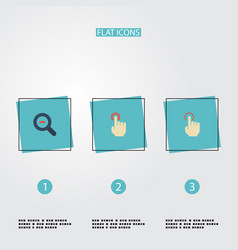 Flat icons nudge zoom out gesture and other vector
