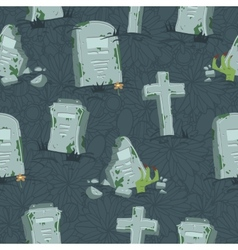Halloween tombs seamless pattern vector image