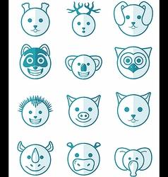 icon set animals blue vector image vector image