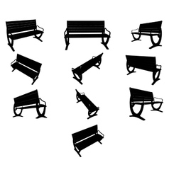 image Benches black silhouettes vector image