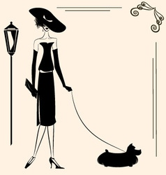 Lady and dog vector