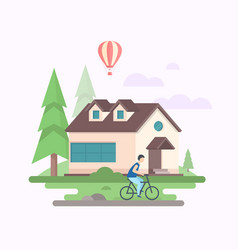 Landscape with a house - modern flat design style vector