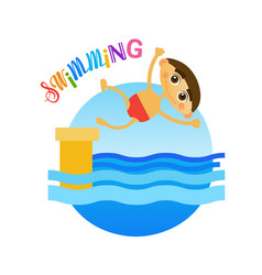 Little boy swimming sport training hobby flat vector