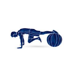 Man exercising fitness swiss ball vector
