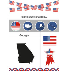 Map of georgia set of flat design icons vector