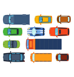 Overhead top view on colorful car toys different vector