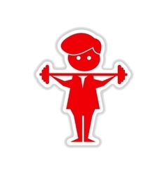 Paper sticker on white background man with barbell vector