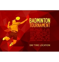 Polygonal badminton player sports poster vector