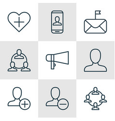 Set of 9 communication icons includes significant vector