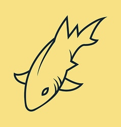 Shark simple line art vector