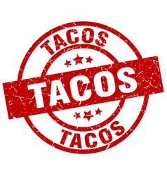 tacos round red grunge stamp vector image