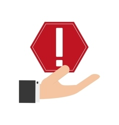 Hand holding warning sign icon vector