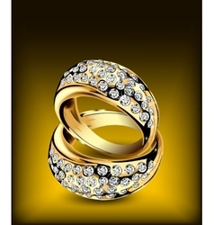 Gold rings with some diamonds vector