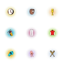 Game with bat icons set pop-art style vector