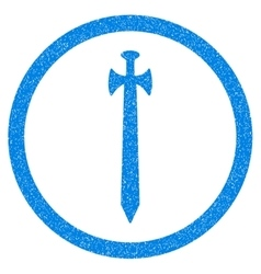 Medieval Sword Rounded Icon Rubber Stamp vector image