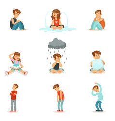 children negative emotions expression of vector image
