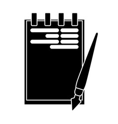 Silhouette notepad paper pen writing office vector