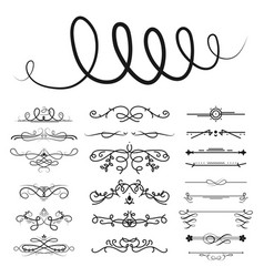 Collection of dividers calligraphic style vector