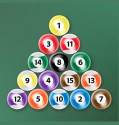 billiard ball set realistic isolated vector image