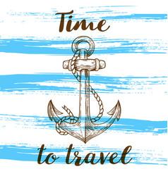 Vintage blue travel background vector