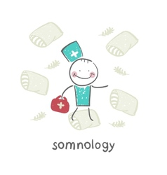 Somnology flies on pillows vector