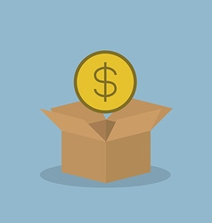 Money coin over opened box vector