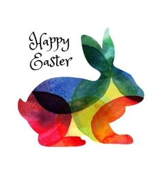 Ester card with watercolor rabbit vector image