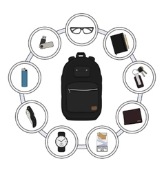 Backpack contents every day carry objects vector