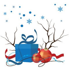 Christmas composition of decorations and gifts vector