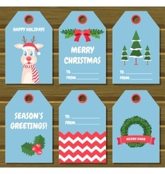 Collection of six christmas gift tags vector