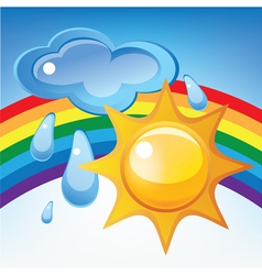 Sun cloud rain and rainbow vector