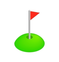 Red golf flag isometric 3d icon vector