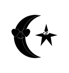 Flat icon in black and white style moon and stars vector