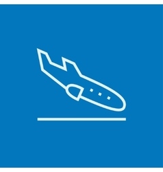 Landing aircraft line icon vector