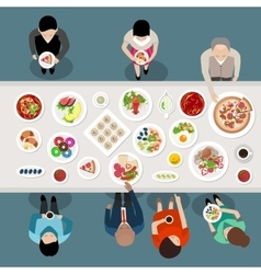 Banquet catering party top view vector
